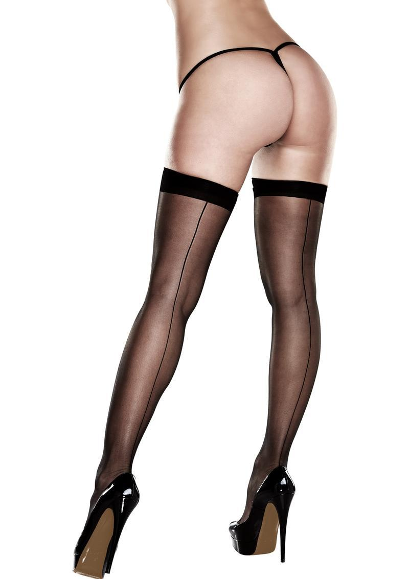 Sheer Thigh Highs With Backseam-queen